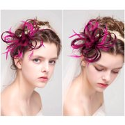 Cambric Vintage Fascinators Hat -Women Girls Fascinators Hat Feather with Clip Cocktail Headpiece for Tea Party Wedding (Hair Hoop & Hair Pin Included)