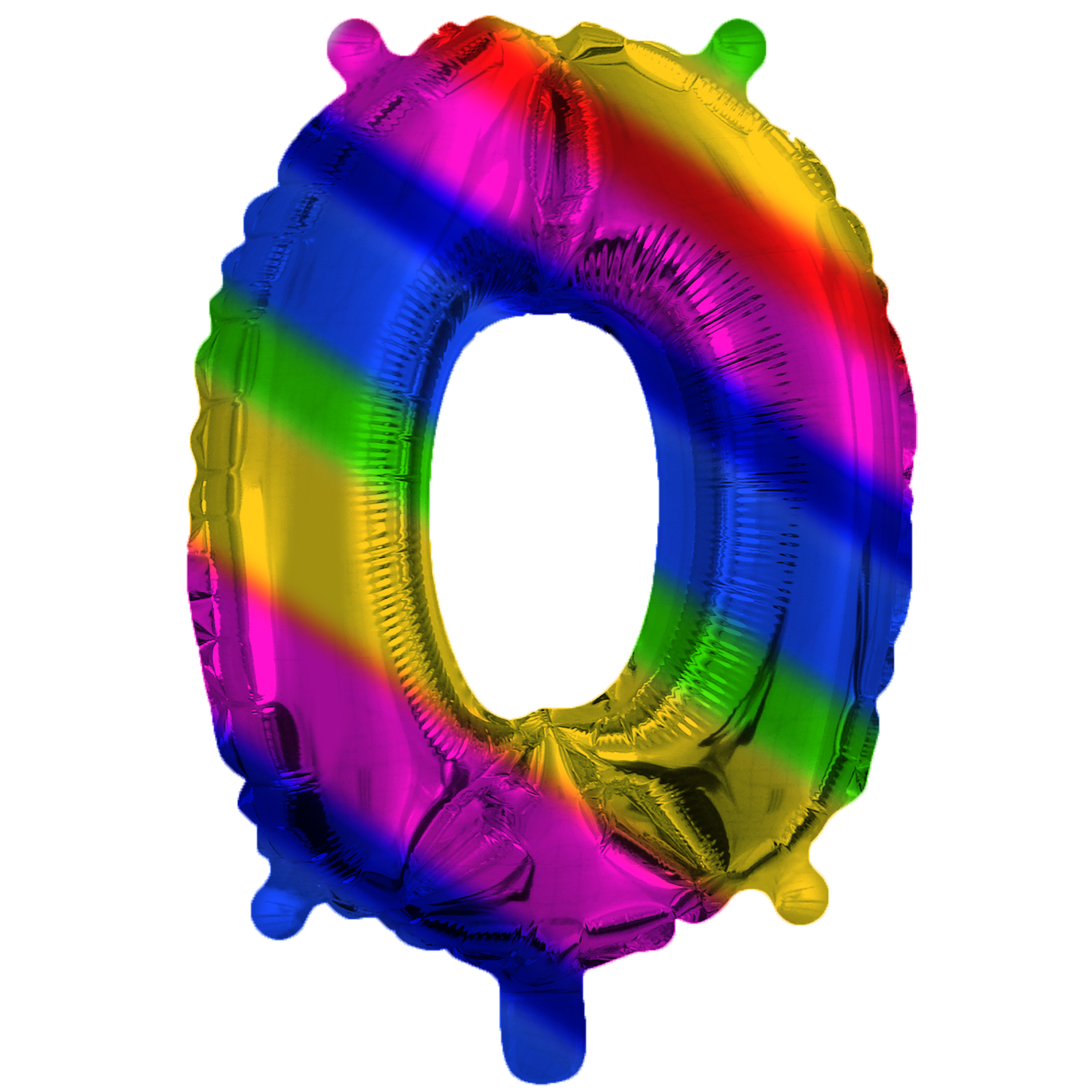 Rainbow Foil 0 Number Air Filled Balloon