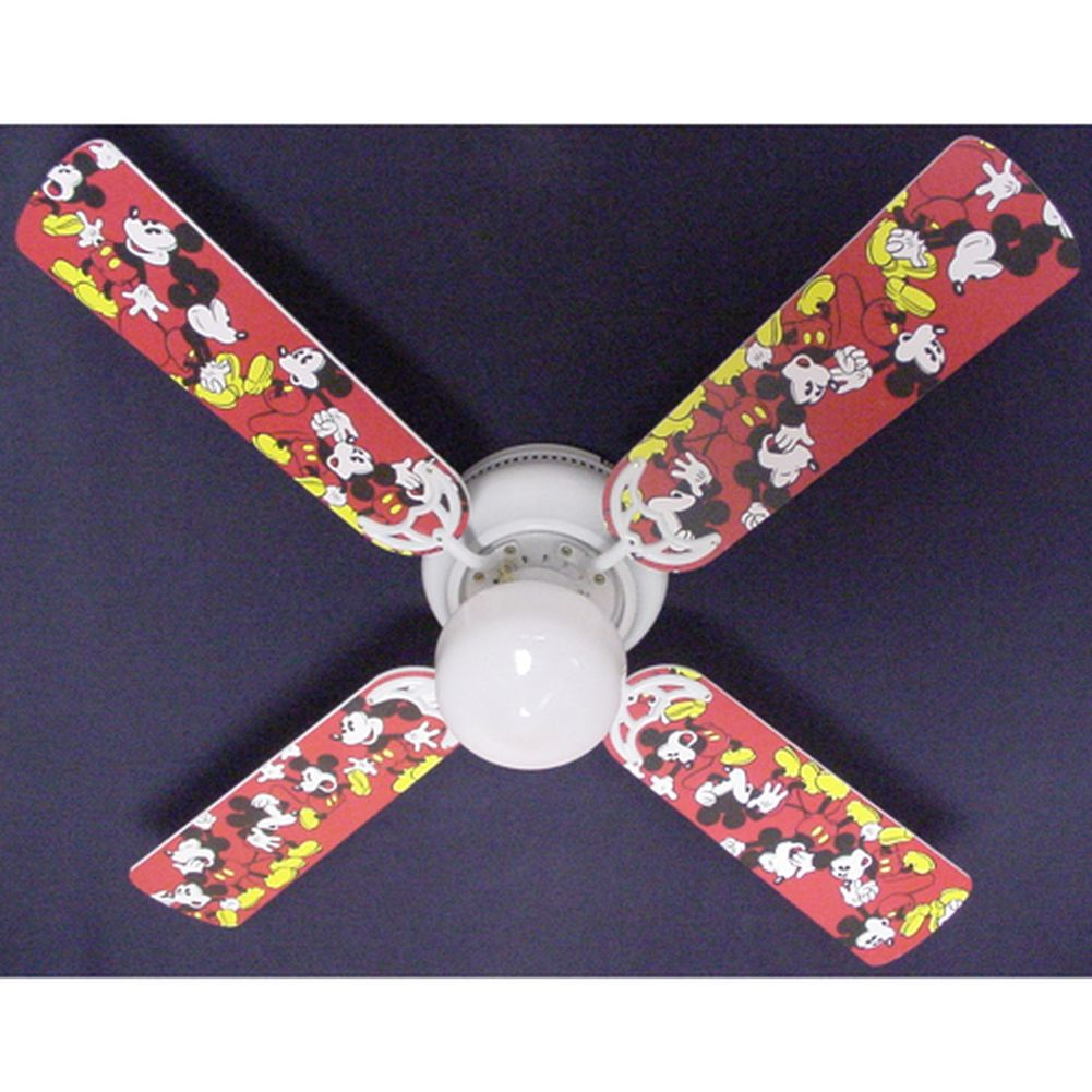 Ceiling Fan Designers Disney's Red Mickey Mouse Print Bla...