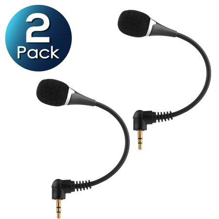 2 Pack Insten 3.5mm Mini Flexible Microphone Mic for PC Laptop Desktop VOIP SKYPE Internet Call WhatsApp (Voip Internet Calling)