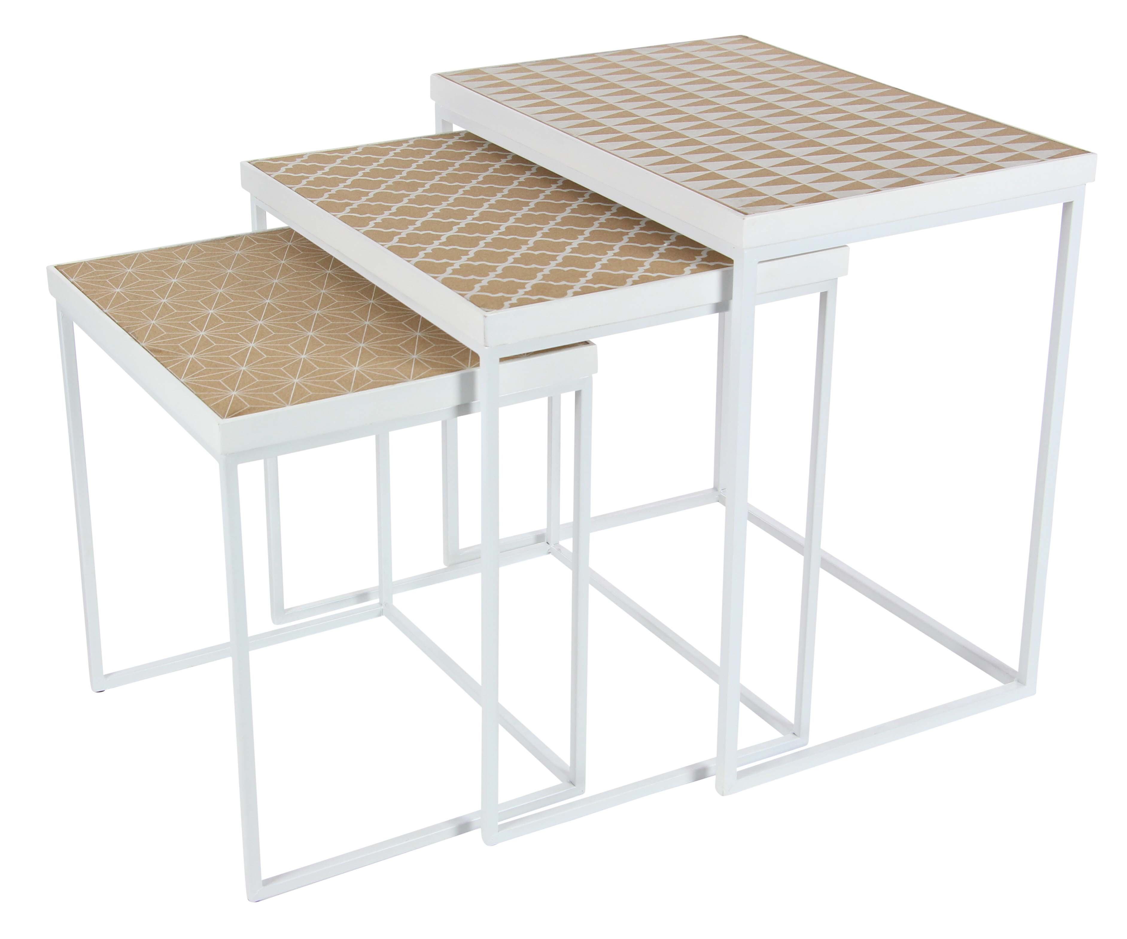 Decmode 18, 21, And 24 Inch Rectangular Nesting Tables With Lattice Pattern  Design