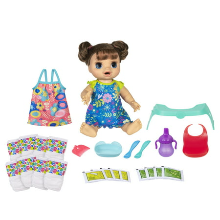 Baby Alive Happy Hungry Baby Brown Straight Hair, Walmart Exclusive Bonus Pack