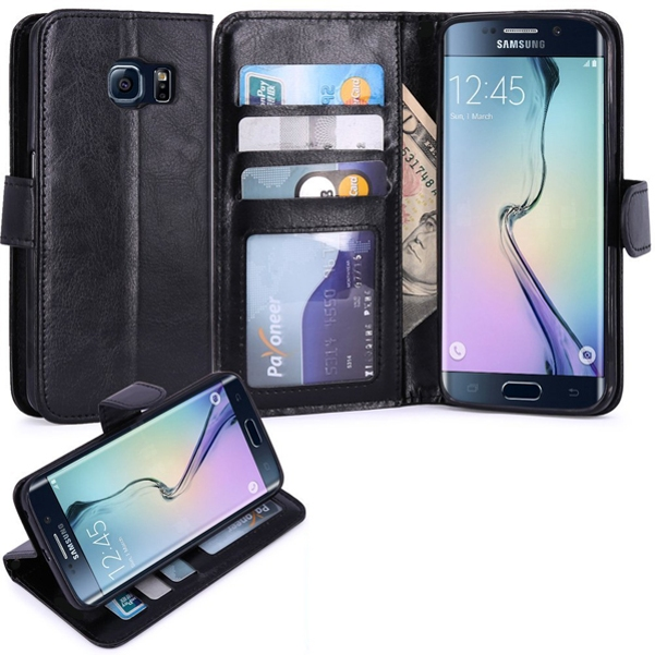Leather Phone Case Stand Wallet Flip Cover Card ID Slots Reinforced Drop Protection Black Y3O for Samsung Galaxy S6 Edge
