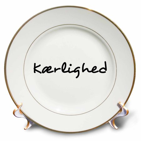 3dRose Kaerlighed, word for Love in Danish romantic world language black text - Porcelain Plate, 8-inch