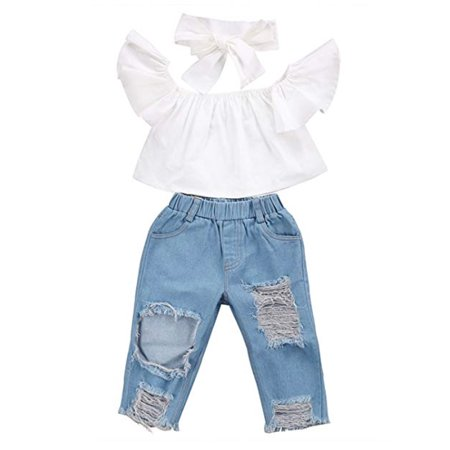 Denim Band (Baby Girls Kids Off Shoulder Top+ Denim Jeans Pants with Headband Outfits Set)