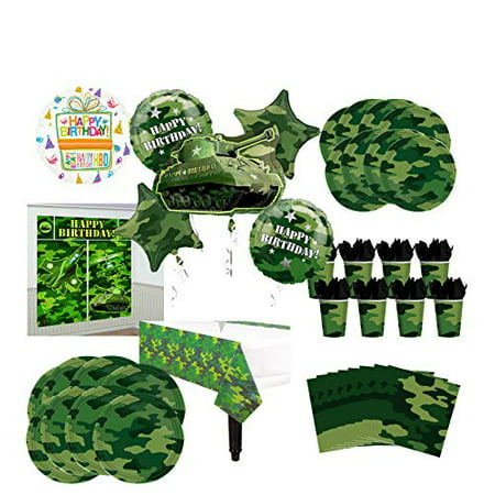 Mayflower Products Army Tank Birthday Party Supplies 8 Guests Military Camouflage Balloon Bouquet Decorations](Camo Birthday Supplies)