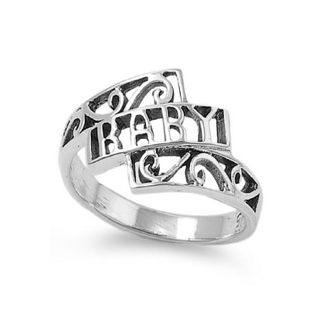 Baby Word in Bold Petite Ring Sterling Silver (Bold Square Ring)