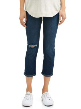 Oh! Mamma Maternity Over Belly Distressed Denim Capris - Available in Plus Sizes