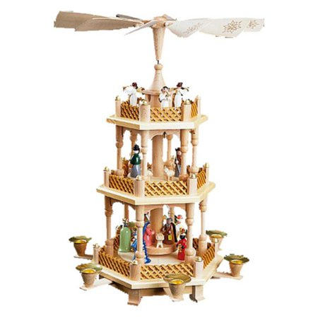 First Blessing Nativity Wood - Richard Glaesser 3-Tier Nativity Pyramid