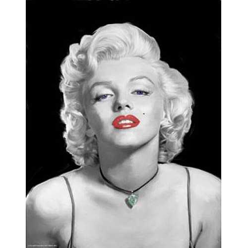 "Marilyn Monroe Black and White with Red Lips Canvas Wall Art, 15"" x 19"""