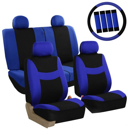 Pleasant Fh Group Light Breezy Seat Covers For Auto 4 Headrests Full Seat Covers With Steering Belt Pad Cover Blue And Black Ibusinesslaw Wood Chair Design Ideas Ibusinesslaworg