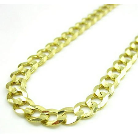 14K Yellow Gold Men Women's 4.3MM Cuban Curb Chain Lobster Clasp (7.5) ()