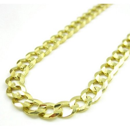 14K Yellow Gold Men Women's 4.3MM Cuban Curb Chain Lobster Clasp (7.5) 14k Gold Fancy Solitaire