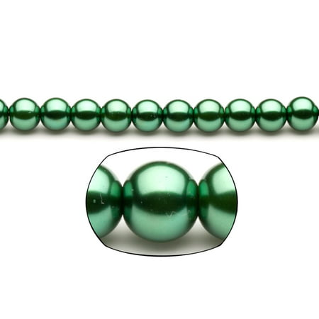 10mm Round Metallic-Tone Emerald Glass Pearls 2x16Inch Stings 90-Bead Count