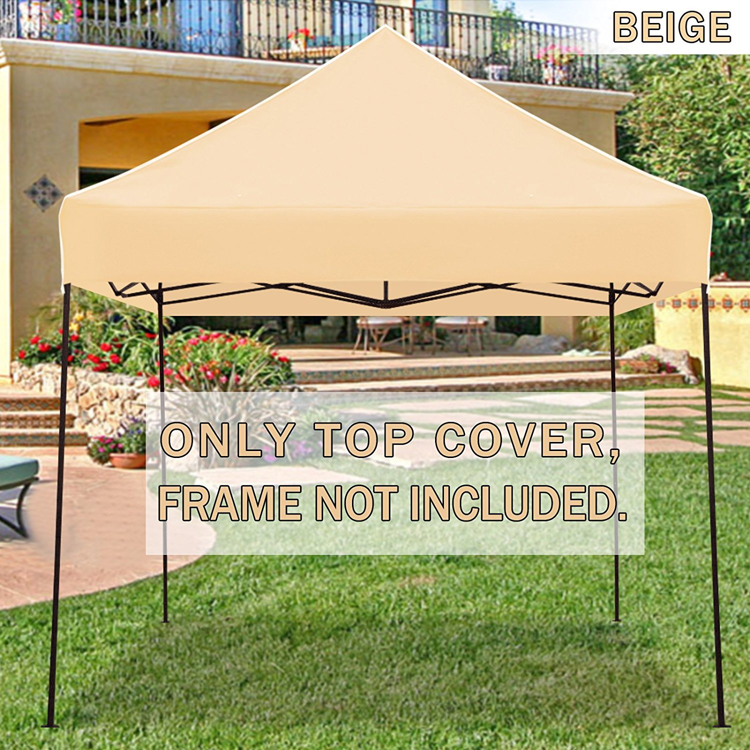 STRONG CAMEL Ez pop Up Canopy Replacement Top instant 10'X10' gazebo EZ canopy Cover patio pavilion sunshade plyester- Brown Color
