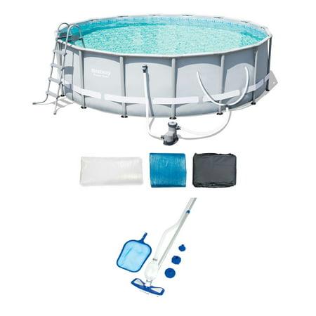 Bestway 16-Foot Steel Frame Pool Set + Cleaning & Maintenance Accessories (Best Way To Clean Glasses Frames)