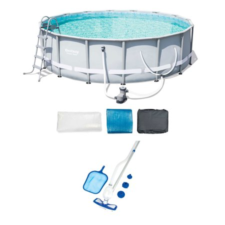 Bestway 16-Foot Steel Frame Pool Set and Cleaning & Maintenance Accessories Kit -  56491E-BW + 58234E-BW