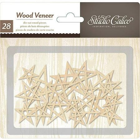 Printshop Laser-Cut Wood Veneer Shapes, 28 Pack, Stars