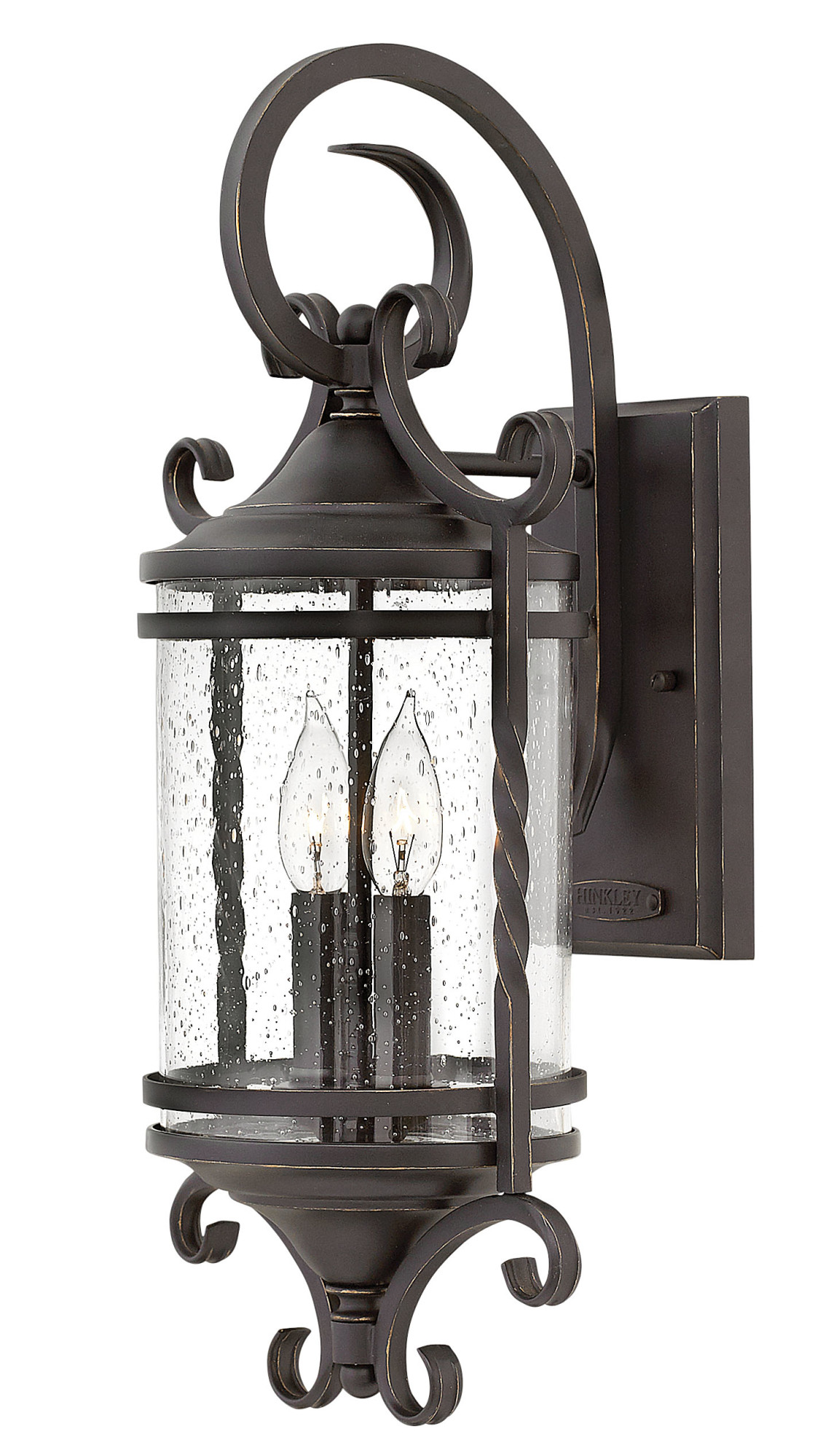 """Hinkley Lighting 1143-CL Casa 2-Light 21-1 2"""" High Outdoor Wall Sconce with Seedy Glass Shade by Hinkley Lighting"""