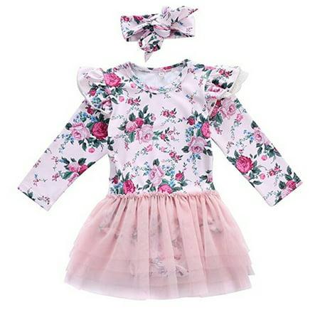Newborn Baby Girls Ruffle Long Sleeve Floral Lace Tulle Tutu Overlay Romper Princess Dress