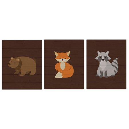 Fox V2 Print - Adorable Forest Woodlands Raccoon, Bear and Fox Set; Perfect for a Child's Room or Nursery; Three 8x10in Unframed Paper Posters (Printed On Paper, Not Wood)