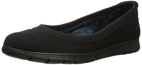 BOBS from Skechers Women's Pureflex Skimmer Flat, Black/Black, 6 M US