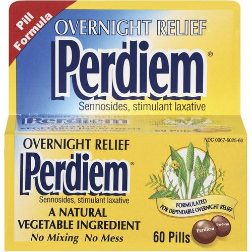 Perdiem Stimulant Overnight Relief Laxative Pills, 60 Count