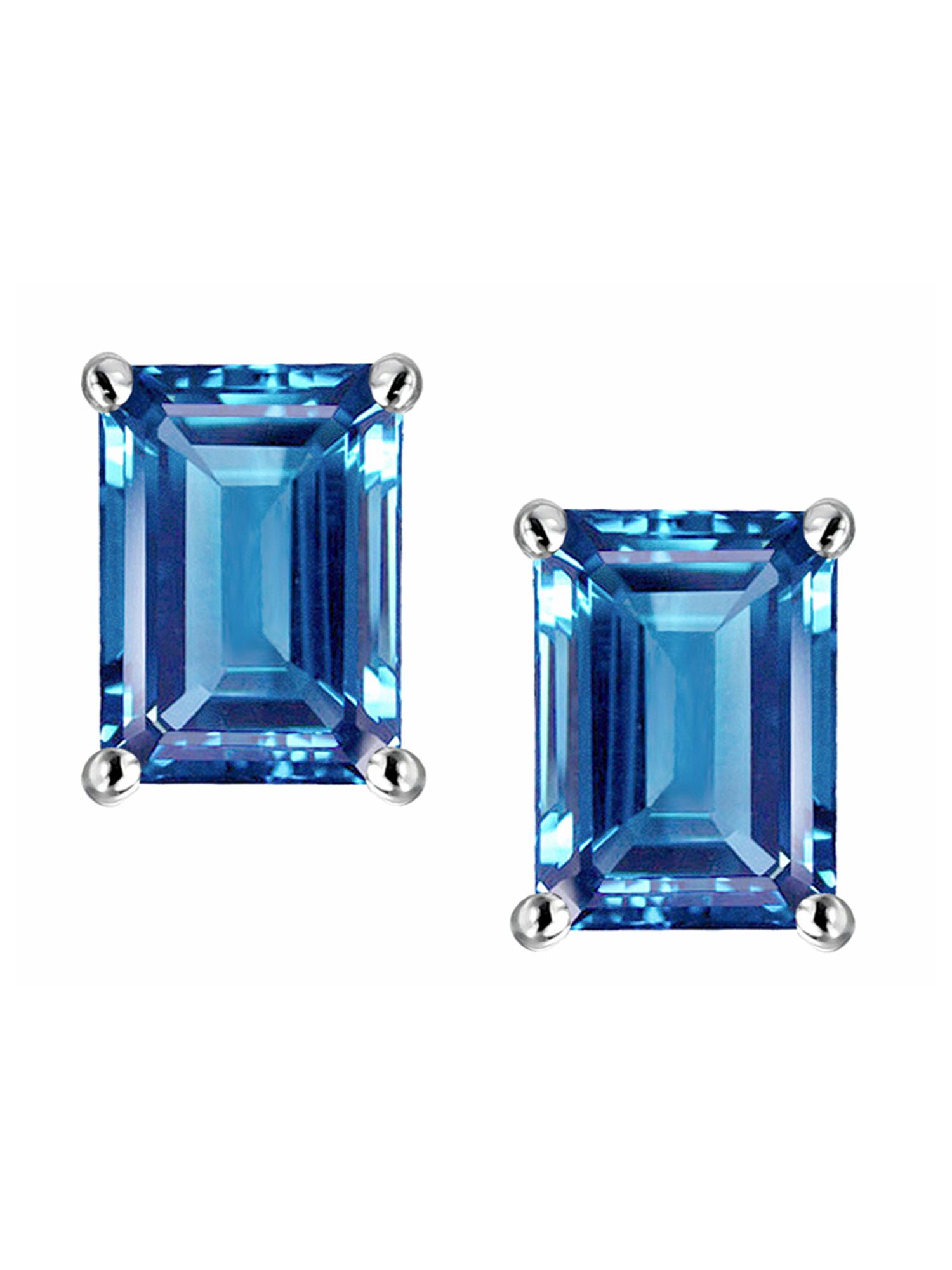 Star K Emerald Cut 7x5mm Genuine Blue Topaz Earrings Studs in 14 kt White Gold