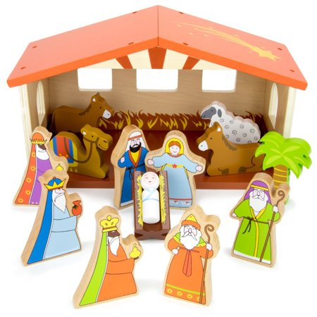 O Holy Night Wooden Nativity Set - 14-piece Christmas Holiday Traditional Nativity Playset with The Holy Family, Three Wise Men, Animals, and Manger by Imagination Generation - Wooden Nativity Set