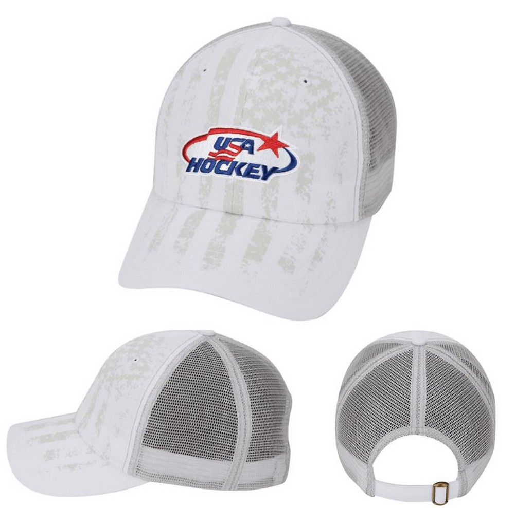 USA Hockey Tone on Tone USA Hockey Flag Baseball Cap Hat Embroidered Mesh White