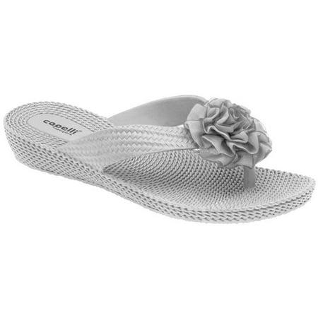 cdce604f1 Capelli New York - Capelli New York Women Woven Flower Thong Sandals Wedge Flip  Flops - Walmart.com
