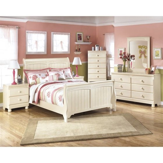 Ashley Cottage Retreat 6 Piece Wood Full Sleigh Bedroom Set in Cream