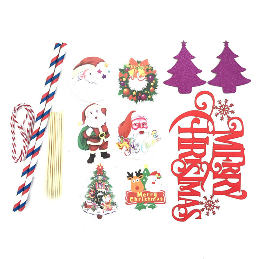 Babydream1 Merry Christmas Cake Topper Paper Trees Deers Snowflake Elks Baking Toppers Flags Party Decoration Walmart Canada