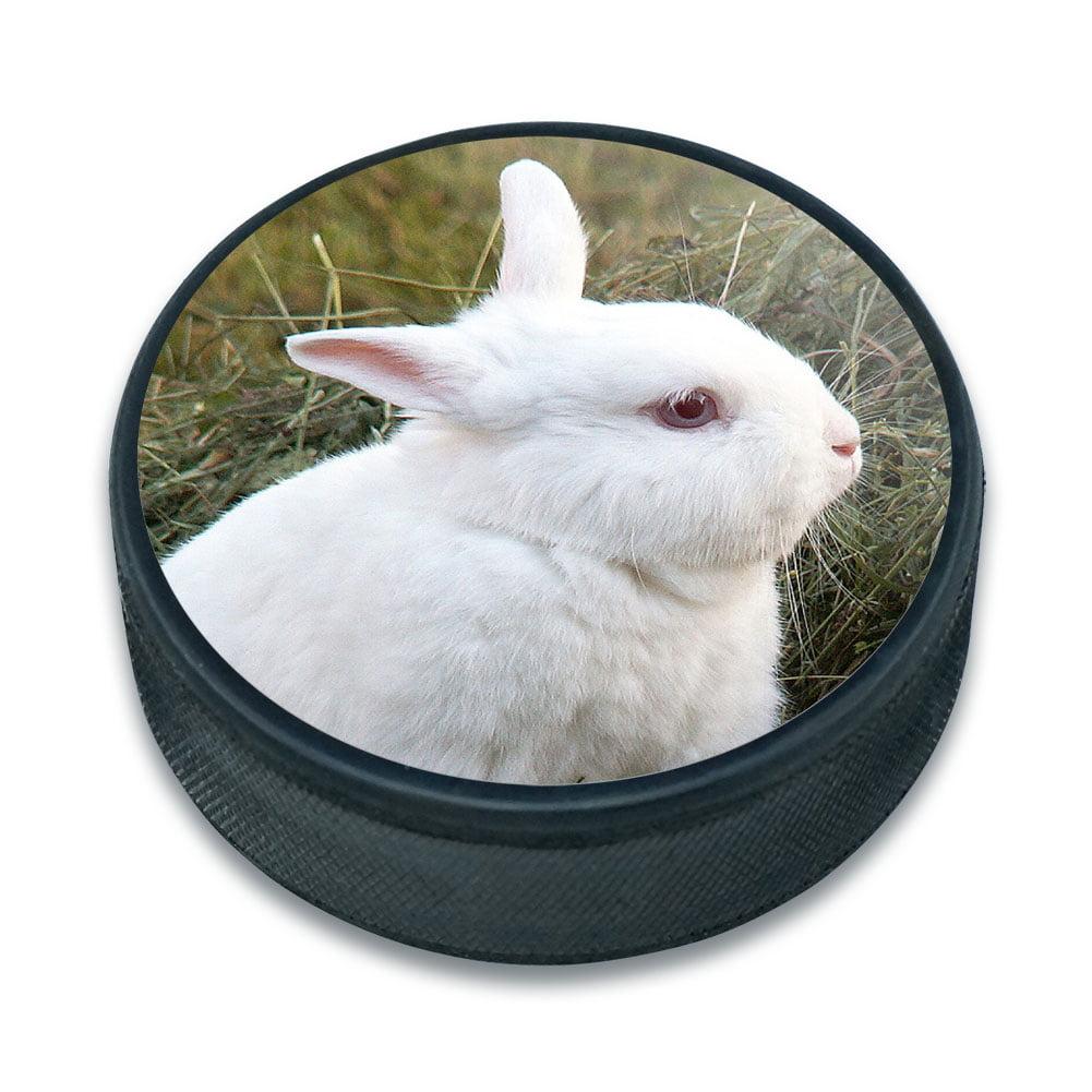 Rabbit Bunny White Easter Ice Hockey Puck