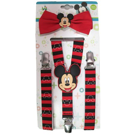2493293c656 Disney - Disney Mickey Mouse Red Black Striped Suspenders and Bowtie Set -  Toddler Boys  5013  - Walmart.com