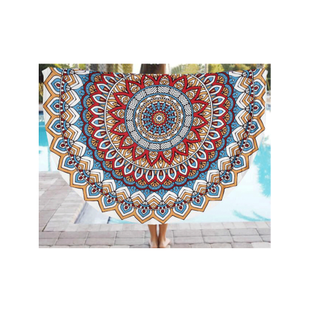 Topcobe Mandala Tapestry Wall Hanging with Tassel, Blue Peacock Feather Pattern Bohemian Tapestry, T777Y Thin Fabric Yoga Picnic Mat for Summer Beach