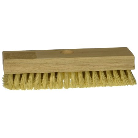 11643 Acid Scrub Brush Tampico Threaded, 8-Inch, The hardwood block features one hole for a threaded handle By DQB Industries