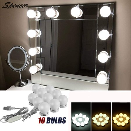 Spencer Hollywood Style 10 Led Vanity Mirror Lights Kit With Dimmable Light Bulbs Lighting Fixture Strip For Makeup Table Not Include