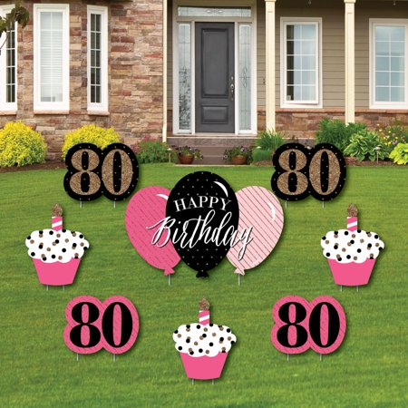 Chic 80th Birthday - Pink, Black and Gold - Yard Sign & Outdoor Lawn Decorations - Birthday Party Yard Signs - Set of 8 - Signs Of Birthday