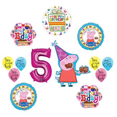 Peppa Pig 5th Birthday Party Balloon supplies and decorations kit - Peppa Pig Birthday Supplies