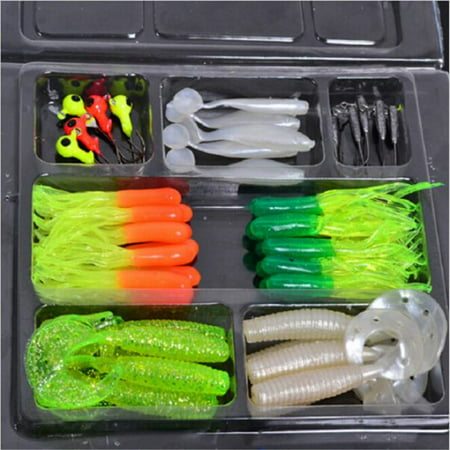 Tackle Seat (35Pcs Artificial Soft Fishing Baits with 10 Lead Jig Head Hooks Fishing Tackle Set )
