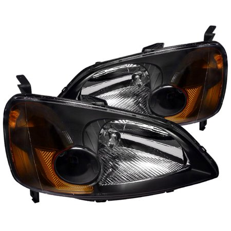 - Spec-D Tuning 2001 2002 2003 Honda Civic Ex Lx Jdm Black Headlights 01 02 03 (Left + Right)
