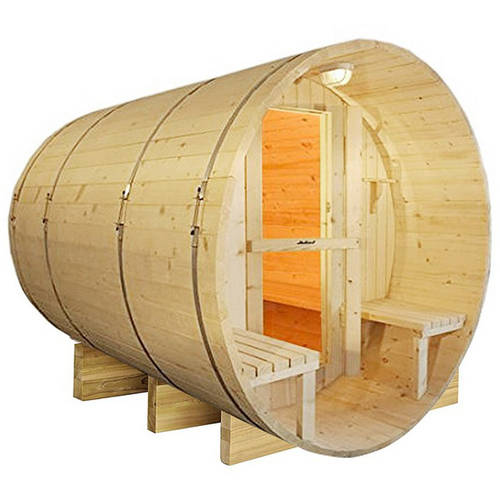 ALEKO SB5PINECP Outdoor or Indoor White Finland Pine Wet Dry Barrel Sauna 5 Person Front... by ALEKO
