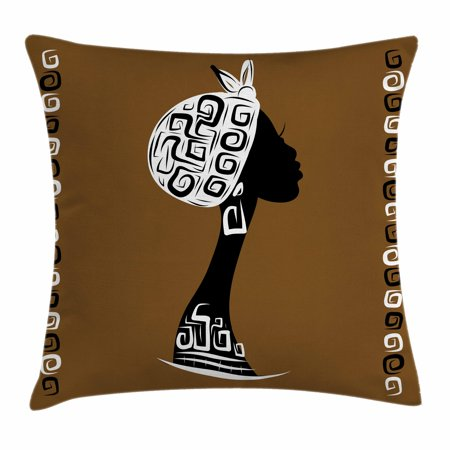 African Woman Throw Pillow Cushion Cover, Female Head Silhouette Stylish Headscarf Geometric Artistic Framework, Decorative Square Accent Pillow Case, 24 X 24 Inches, Brown White Black, by Ambesonne