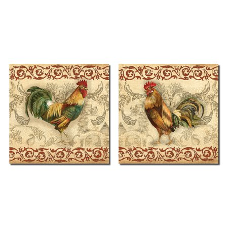 - Toile Rooster I Lovely Popular Brown Rooster Set; Two 12X12 Poster Prints