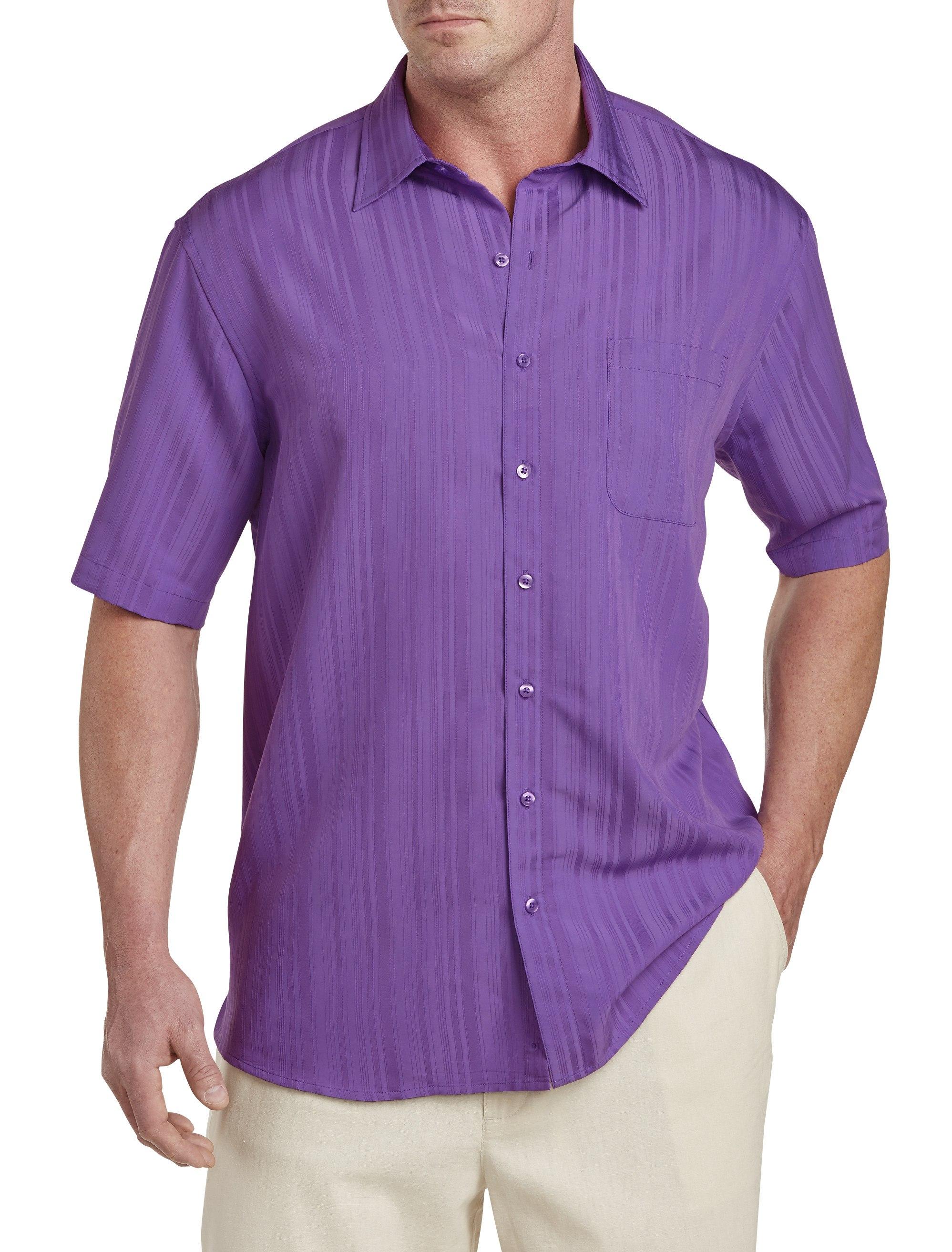 Men's Big & Tall Island Passport Jacquard Stripe Sport Shirt