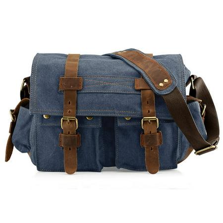 66c596de8af GEARONIC TM Men s Vintage Canvas and Leather Satchel School Military  Shoulder Bag Messenger Large 17
