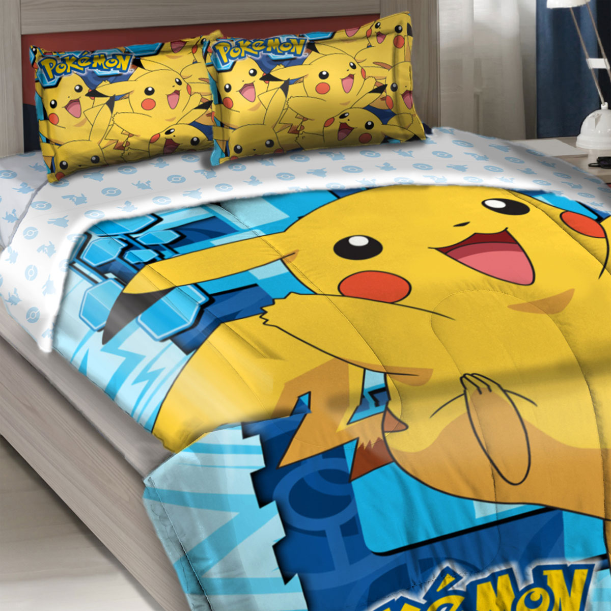The Northwest Company 12440702 Pokemon Twin-full Comforter Set Big Pikachu Bedding