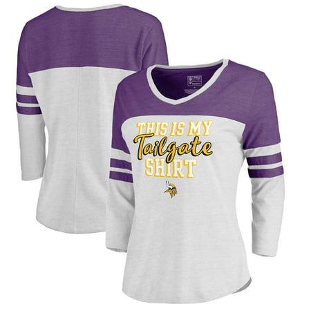 superior quality 86945 f379a Minnesota Vikings NFL Pro Line by Fanatics Branded Women s Plus Size Air  Color Block Tri-Blend 3 4-Sleeve T-Shirt - White - Walmart.com