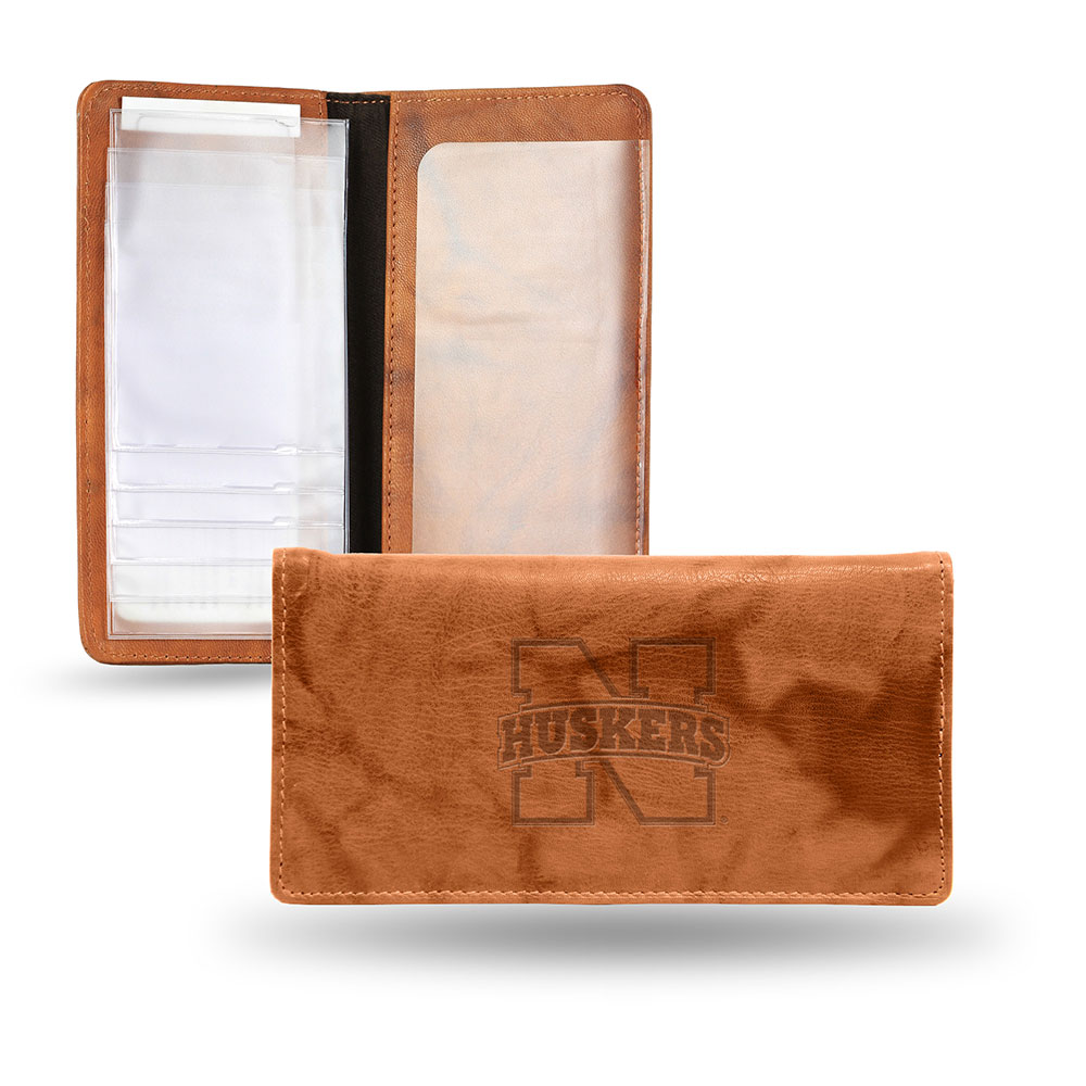 Nebraska Cornhuskers NCAA Embossed Checkbook Holder (Pecan Cowhide)